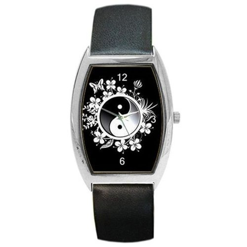 te Floral/Butterfly on a Man or Womens Barrel Watch with Leather Band ()
