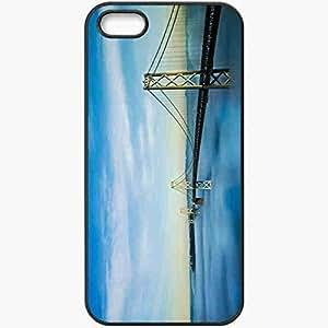 Protective Case Back Cover For iPhone 5 5S Case Bridge Sky Fog Black