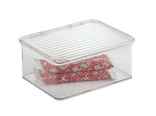 mDesign Kitchen, Pantry, Refrigerator, Freezer Storage Container Box with Hinged Lid - 1.25-Quart, Clear
