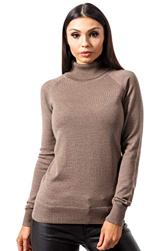 (KNITTONS Women Italian Merino Wool Turtleneck Sweater Long Sleeve Pullover (Medium/US 8-10, Brown Melange))