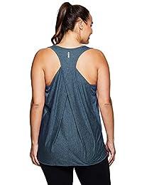 RBX Active Women's Plus Size Split-Neck Seasonal Lightweight Tank Top