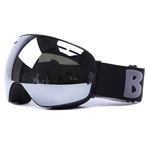 Easy Chemistry Halloween Costumes (Ski Snowboard Goggles Windproof Anti-fog Dustproof Impact Resistance Adjustable Detachable Frameless Spherical Lens Snow Goggles for Skiing Skating Snowmobile UV Protection-Silver)