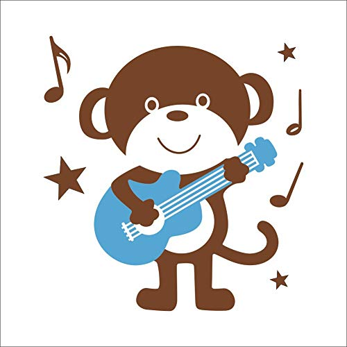 Mural ZOZOSO Carved Monkey Play Guitar Background Creative Wall Sticker Waterproof Removable