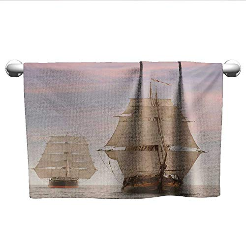 LilyDecorH Ocean,Bath Sheet Sailboat Gaff Top Sail Tall Wooden Sailing Ships Waves Artistic Print Photo Quick-Dry Towels Cream and Blue Grey W 20