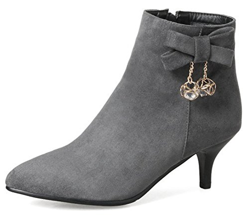 Aisun Women's Rhinestone Faux Suede Inside Zip Up Pointed Toe Booties Stiletto Kitten Heel Ankle Boots with Bows (Gray, 9 B(M) US)