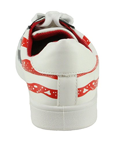 Forever Mujeres Ultra-37 Zapatillas De Deporte Con Cordones Rojo / Azul