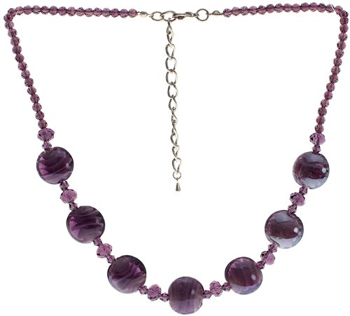 "Lova Jewelry ""Violet Elegance"" Hand-Blown Venetian Murano Glass Necklace - Crystal Venetian Necklace"