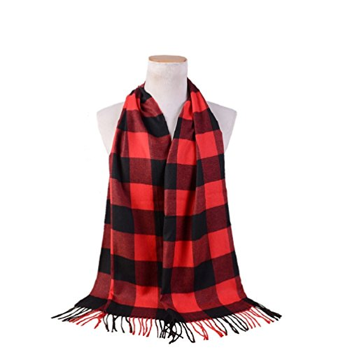 Checkered Scarf (Women Warm Imitation Cashmere Plaid Checkered Scarf (Black&Red,170x38CM/66.92x14.96