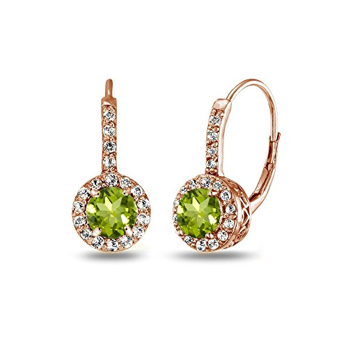 (Rose Gold Flashed Sterling Silver Peridot & White Topaz Round Dainty Halo Leverback Earrings)