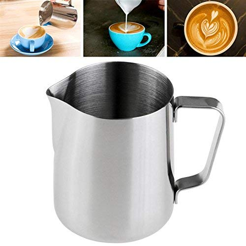 Frothing Pitcher 12 Oz (350ml) with Measurement Mark on Both Sides Inside, 18/8 Anti Rust Stainless Steel Milk Frothing Pitcher for Coffee Steaming Espresso Machine Milk Frothers Latte Art Creamer