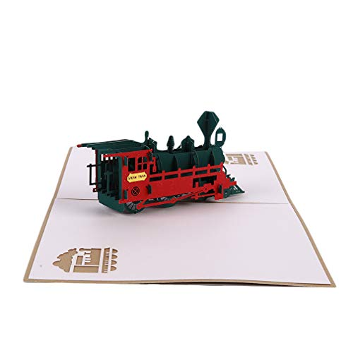 DONGMING Retro Train 3D Pop Up Greeting Cards