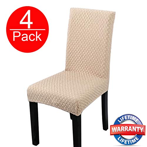 (HOHONG Elegant Spandex Dining Room Chair Slipcovers Stretch Washable Dining Chair Covers for Dining Room Chairs, Parsons Chair, Office Chair - Beige (4 Pack))