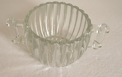 Vintage Sugar Bowl Heavy Clear Pressed Glass Ridged Panels 2 Handles Clear Pressed Glass Creamer