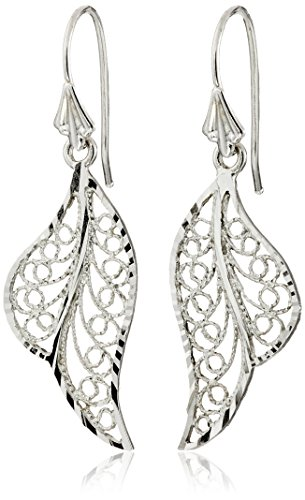 14k White Gold Polished Filigree Drop Earrings