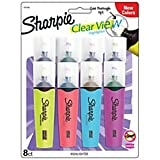 Sharpie Clear View Highlighters, Chisel Tip, Assorted Fluorescent, 8 Pack (1971843)