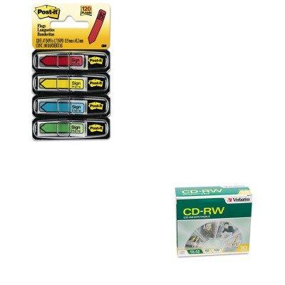 KITMMM684SHVER95170 - Value Kit - Verbatim CD-RW Discs (VER95170) and Post-it Arrow Message 1/2amp;quot; Flags (MMM684SH)