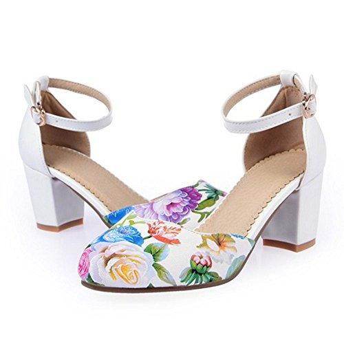TAOFFEN Women Fashion Wedding Shoes Ankle Strap Buckle Floral Block Heel Sandals White agWxb