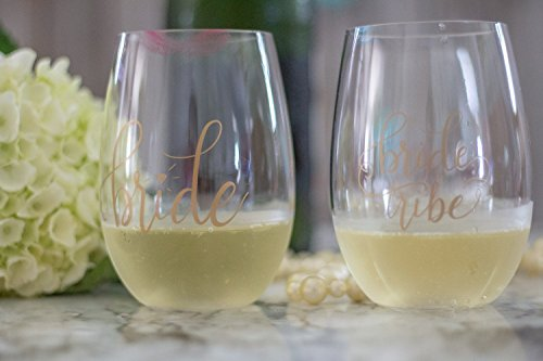 Bride Tribe Durable Plastic Stemless Wine Glasses for Bachelorette Parties, Weddings and Bridal Showers (8 PIECES) by Samantha Margaret (Image #2)