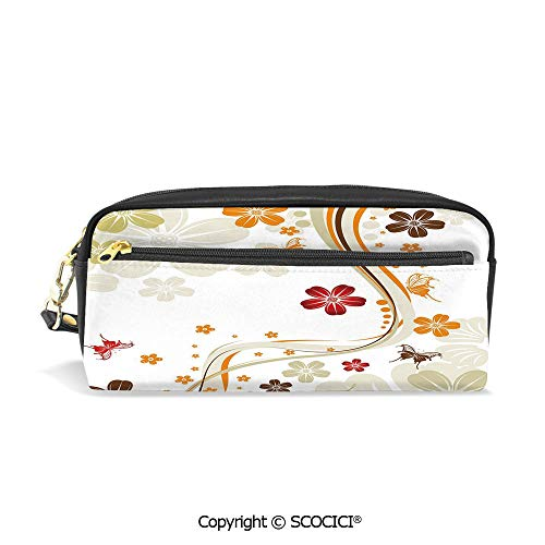 Students PU Pencil Case Pouch Women Purse Wallet Bag Swirling Florets Fragrance Botanical Beauty with Wavy Lines Butterflies Spring Theme Waterproof Large Capacity Hand Mini Cosmetic Makeup Bag (Leather Epi Billfold)