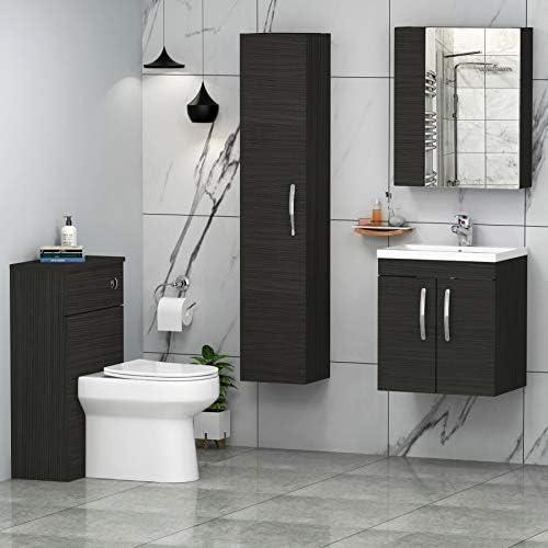 500mm Wall Hung Bathroom Vanity Unit Minimalist Basin 2 Doors Storage Cabinet Furniture - Hale Black