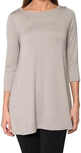 Free to Live Women's Long Flowy Elbow Sleeve Jersey Tunic Made in USA