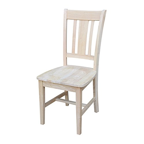 International Concepts C-10P Pair of Slat Back Chairs, Unfinished Color Slat Back Chair