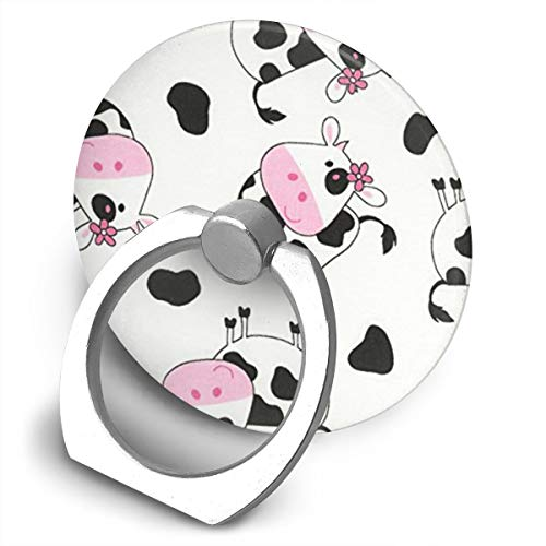 (QSIXH Cute Tossed Cows White Cell Phone Ring Holder, 360 Degree Rotation, Finger Grip Stand Holder iPhone ipad Tablet Ring)