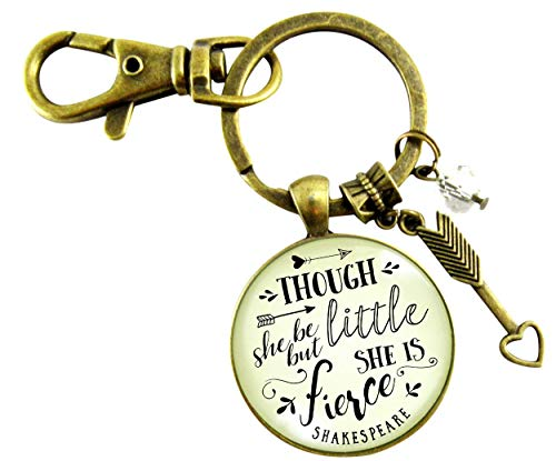 - Though She Be But Little She Is Fierce Keychain Shakespeare Inspired Jewelry Glam Quote Pendant For Women Teen Gift