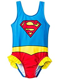 LC Boutique Little Girls One Piece Super Hero Ruffle Swimsuit in Sizes 2T to 5T