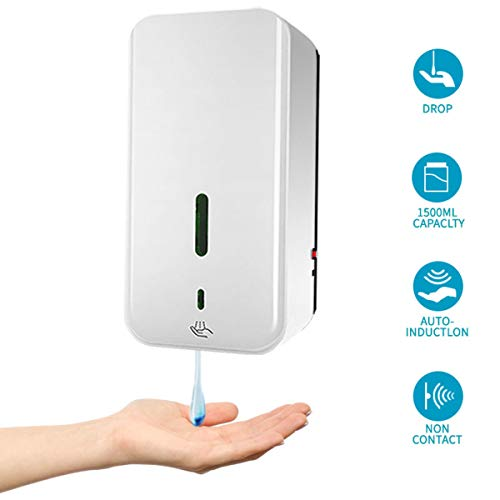 Automatic Soap Dispenser 1500ML Wall Mounted,Alcohol Drops Hand Sanitizer Machine Touchless Motion Sensor Smart Soap Dispenser for School Office Restaurants Hospital Home Public (White, Drop Style)