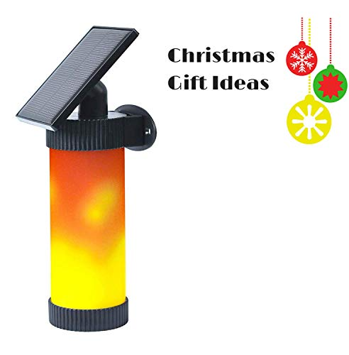Elivern Solar Wall Lights, Led Flame Light, Waterproof Outdoor Dark Sensor Auto On/Off Solar Powered Light, Perfect Festival Decorative Light for Garden, Landscape, Patio and Driveway