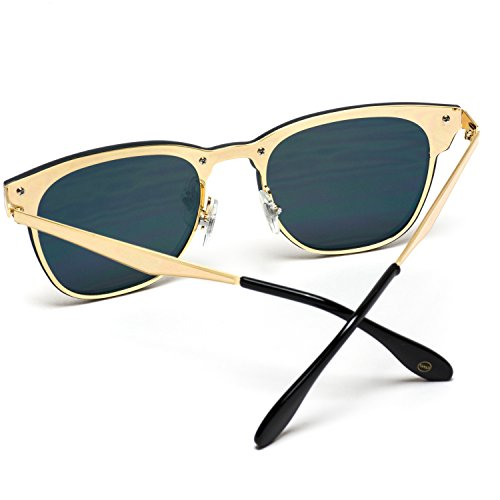 WearMe Pro - Full Mirror Lens Reflective Rimless Clubmaster Sunglasses Gold Frame / Mirror Pink