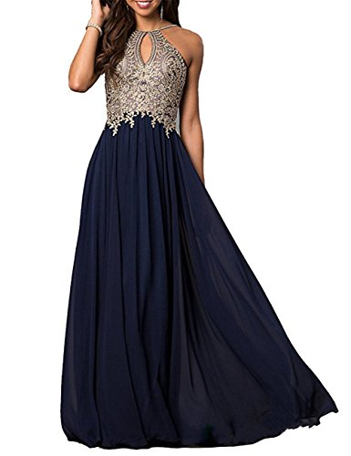 Lily Wedding Womens Halter Gold Applique Prom Bridesmaid Dresses 2018 Long Chiffon Evening Formal Gowns P199 Size 2 Navy Blue