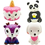 Ouflow 4Pcs Squishies Slow Rising Toy Pack Unicorn Cake,Pink Dog,Panda,Star Deer Jumbo Soft Cream Scented Cute Squishy for Kids Party Favors