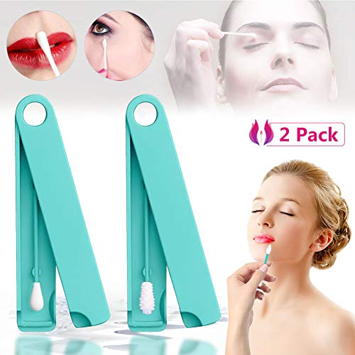 Last Swab Reusable Q-tip,Reusable Cotton Buds Sticks Portable Washable Q-Tip Cotton Buds Sticks for Ear Eye Cleaning Cosmetic Makeup Ear Wax Removal Tool with Durable Strorage Case (Mix 2 Green)