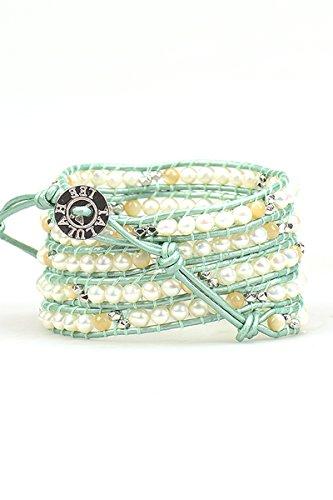 Beaded Leather Wrap Bracelet, White Pearl Bracelet, Gold Bead Wrap Bracelet, Summer Jewelry, Women's Wrap Bracelets, Boho Wrap Bracelet