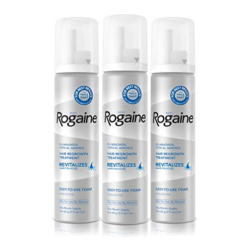 41oj9%2BKp6wL - Men's Rogaine 5% Minoxidil Foam for Hair Loss and Hair Regrowth, Topical Treatment for Thinning Hair, 3-Month Supply, 2.11 Oz, Pack of 3