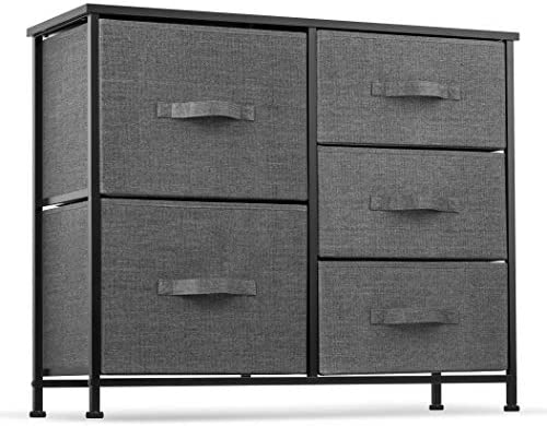 5 Drawer Dresser Organizer Fabric Storage Chest for Bedroom, Hallway, Entryway, Closets, Nurseries. Furniture Storage Tower Sturdy Steel Frame, Wood Top, Easy Pull Handle Textured Print Drawers