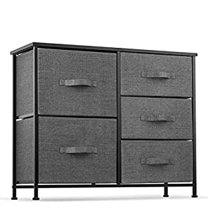 picture of 5 Drawer Dresser Organizer Fabric Storage Chest for Bedroom, Hallway, Entryway, Closets, Nurseries. Furniture Storage Tower Sturdy Steel Frame, Wood Top, Easy Pull Handle Textured Print Drawers