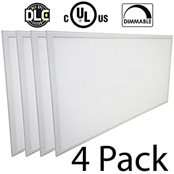 LED Panel Light 2x4 FT, 60W, 6000 Lumens, Dimmable 0-10v, 100-277v, White Frame, No Flickering, DLC UL Listed, 5000K, 4 Pack