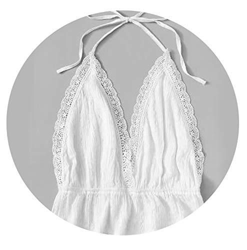 Women Lace Halter Blouses Backless Sleeveless Holiday Beach Ladies Tops,White Blouse,M
