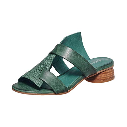 Antelope Women's 233 Green Leather Textured Round Heel Sandal 36 ()