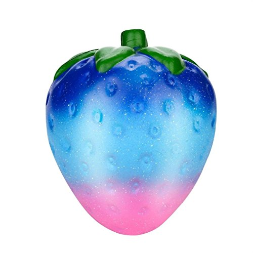 Wcysin Newest Super Slow Rising Squishies Toy, Lovely 13cm Jumbo Kawaii Galaxy Strawberry Scented Squishy Charm Slow Rising Stress Reliever Toy Exquisite Kid Soft Toy Key Cell Phone Pendant Strap Gift