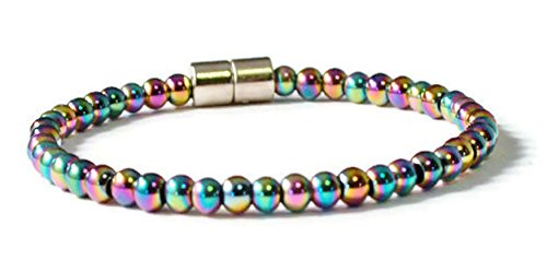 Beads-N-Style Rainbow Magnetic Hematite Therapy Heath Bracelet (7.0)