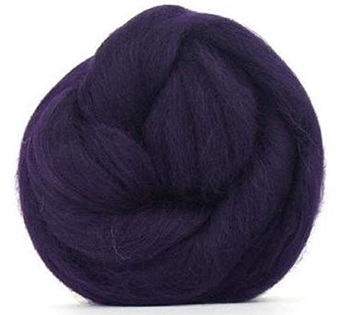 4 oz Paradise Fibers 64 Count Dyed Aubergine (Purple) Merino Top Spinning Fiber Luxuriously Soft Wool Top Roving for Spinning with Spindle or Wheel, Felting, Blending and Weaving by Paradise Fibers