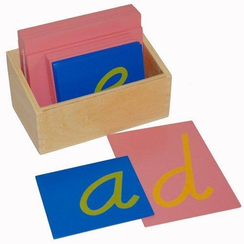 (Montessori Sandpaper Letters, Lower Case Cursive with Box by D & D)
