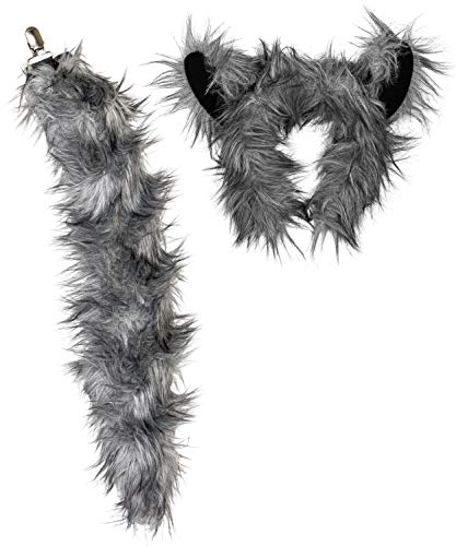 Wildlife Tree Kids Size Plush Wolf Ears Headband and Tail Set Wolf Costume, Cosplay, Pretend Animal Play or Forest Animal ()