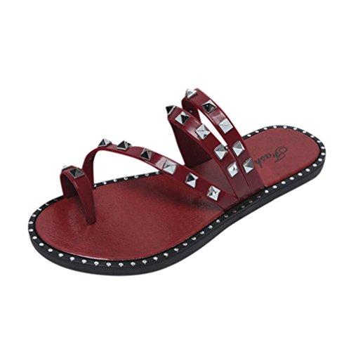 33f07eea458b2 PAOLIAN Sandalias y Chanclas para Mujer Verano 2018 Zapatos de Remache  Planos Sandalias de Romano Cómodos