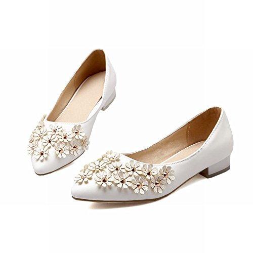 Mee Shoes Damen Blümchen Geschlossen Niedrig chunky heels Pumps Weiß