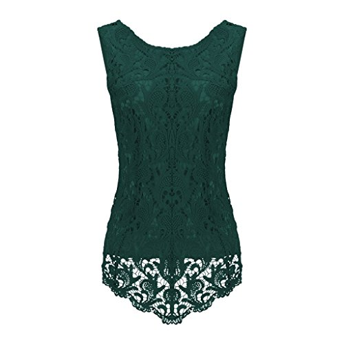 Sumtory Women's Lace Blouse Sleeveless Embroidery Tops Vest Shirt Blouse – Small, Dark Green